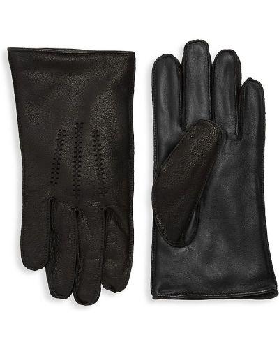 Brązowe ciepłe rękawiczki skorzane Ugg