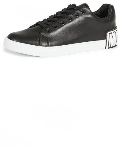 Czarne sneakersy skorzane sznurowane Moschino