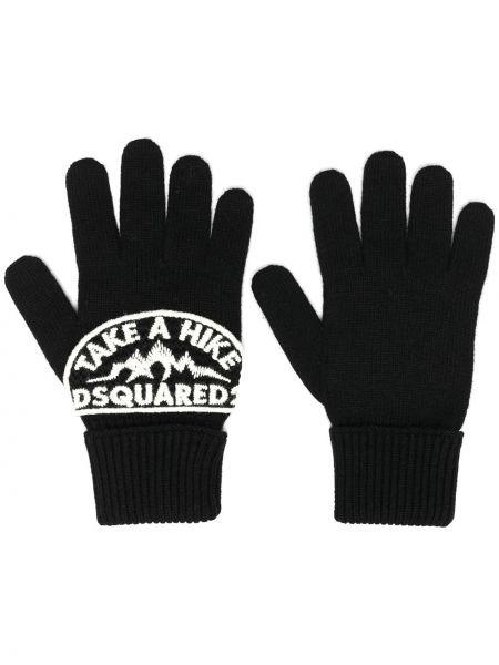 Czarne rękawiczki wełniane z haftem Dsquared2
