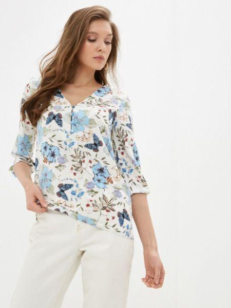 Белая блузка с длинным рукавом Арт-Деко