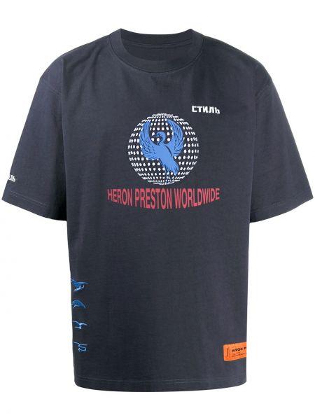 Bawełna niebieski koszula z krótkim rękawem z haftem okrągły dekolt Heron Preston