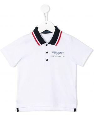 Асимметричная белая рубашка в рубчик на пуговицах Aston Martin Kids