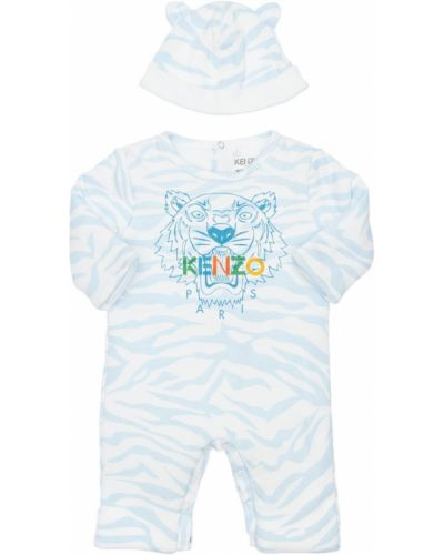 Niebieski bawełna bawełna kapelusz z aplikacjami Kenzo Kids