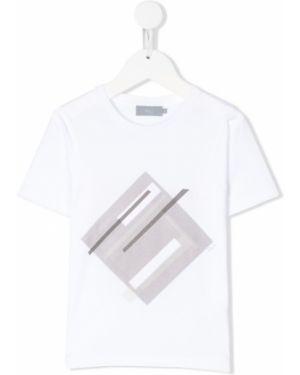 Biały t-shirt bawełniany z printem Baby Dior