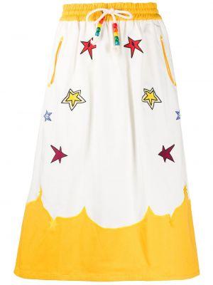 Белая прямая с завышенной талией юбка миди с вышивкой Mira Mikati