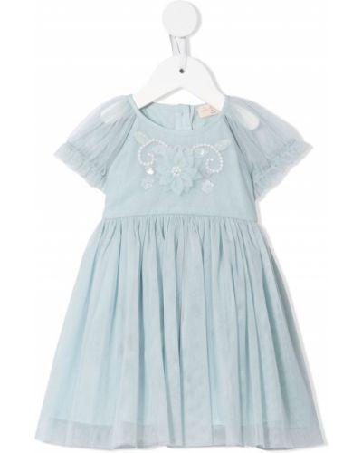 Прямое синее платье с рукавами из фатина на пуговицах Tutu Du Monde