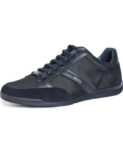 Синие кожаные кроссовки на шнурках Boss Hugo Boss