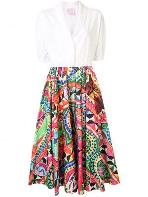 Хлопковое короткое белое платье на пуговицах Stella Jean