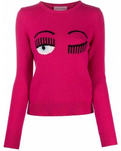 Шерстяной розовый вязаный свитер в рубчик Chiara Ferragni