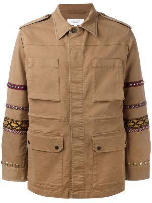 Kurtka khaki z haftem bawełniana Fashion Clinic Timeless