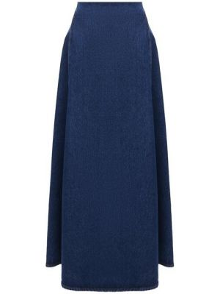 Хлопковая синяя джинсовая юбка Mm6