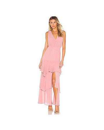 Вечернее платье розовое на пуговицах Majorelle
