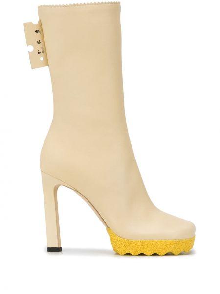 Beżowy buty z prawdziwej skóry Off-white
