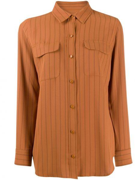 Блузка с длинным рукавом в полоску с воротником-стойкой Equipment