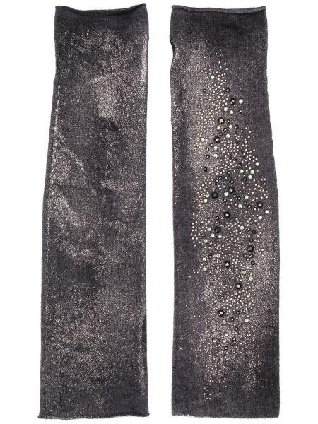 Czarne rękawiczki bez palców srebrne Avant Toi