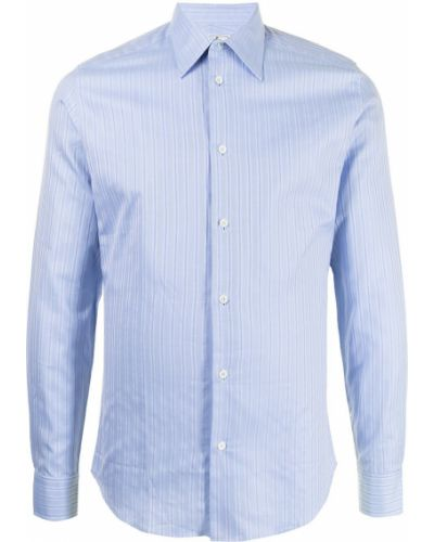 Niebieska koszula bawełniana w paski Hermes