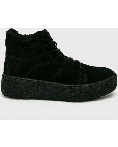Сапоги на шнуровке черные Tamaris