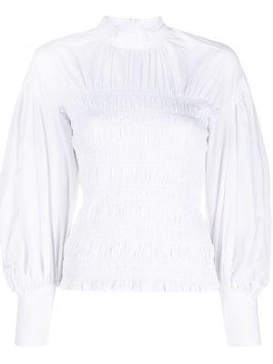 Bawełna z rękawami bluzka z falbankami Ganni