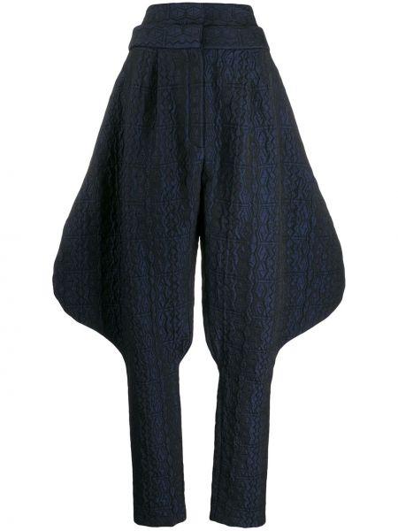 Шерстяные черные брюки со складками с высокой посадкой Chalayan