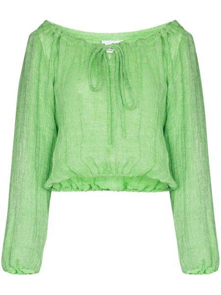 С рукавами зеленый топ с открытыми плечами с завязками Lisa Marie Fernandez