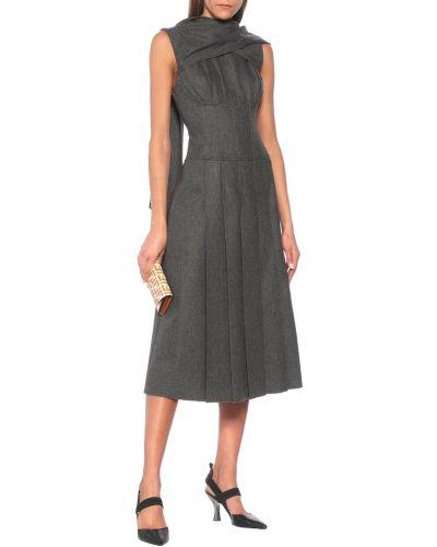 Шерстяное серое платье миди Fendi