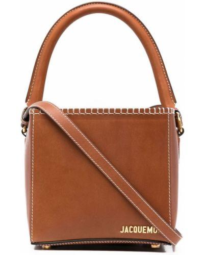 Золотистая коричневая кожаная сумка на плечо Jacquemus