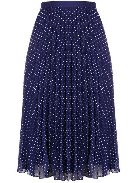 Расклешенная синяя юбка миди в рубчик с поясом Philosophy Di Lorenzo Serafini