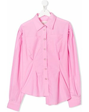 Хлопковая с рукавами розовая блуза на пуговицах Natasha Zinko Kids