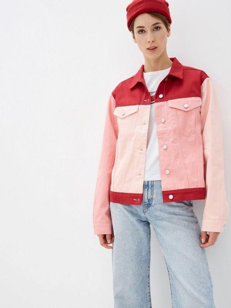 Джинсовая куртка весенняя розовая Na-kd