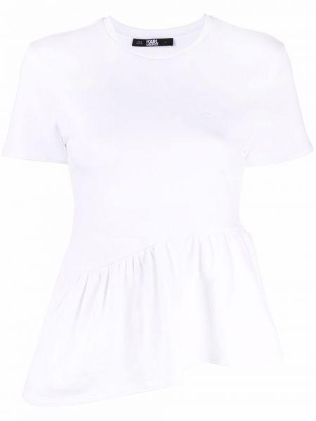 Хлопковая белая футболка с вырезом Karl Lagerfeld