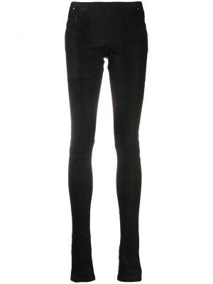 Облегающие черные кожаные леггинсы Rick Owens