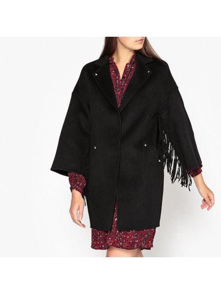 Коралловое шерстяное длинное пальто с воротником с бахромой Berenice