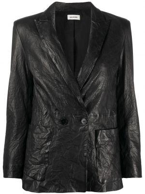 Хлопковая черная куртка с лацканами с карманами Zadig&voltaire
