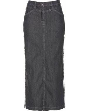 Джинсовая юбка в полоску серый Bonprix