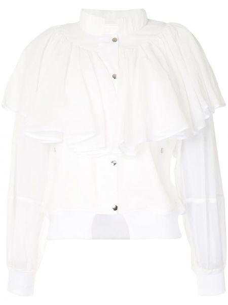 Biały bawełna długa kurtka z mankietami z kołnierzem Enfold