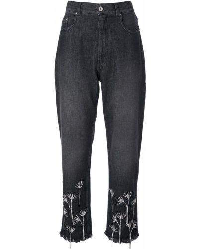 Черные укороченные джинсы на пуговицах в стиле бохо Beau Souci
