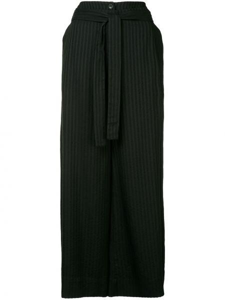 Черные свободные брюки с поясом свободного кроя на пуговицах Nehera