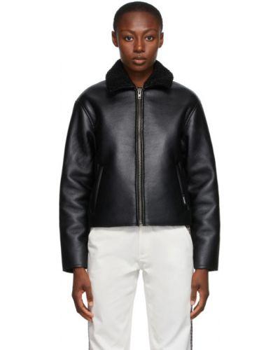 Кожаная черная длинная куртка с воротником с карманами Rassvet