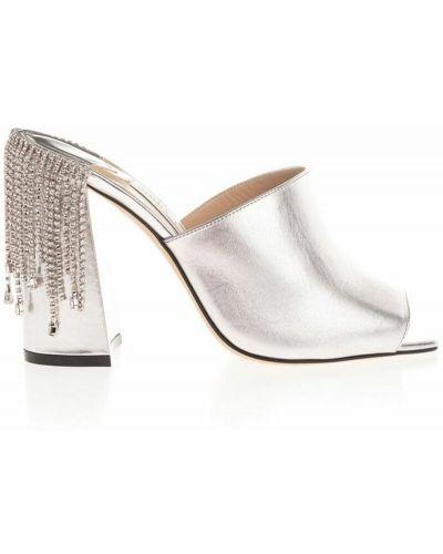 Sandały skórzane - szare Jimmy Choo