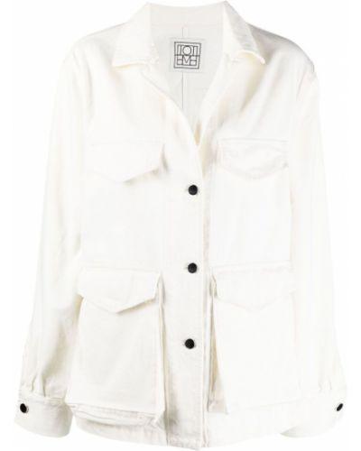 Ватная белая джинсовая куртка с воротником Toteme