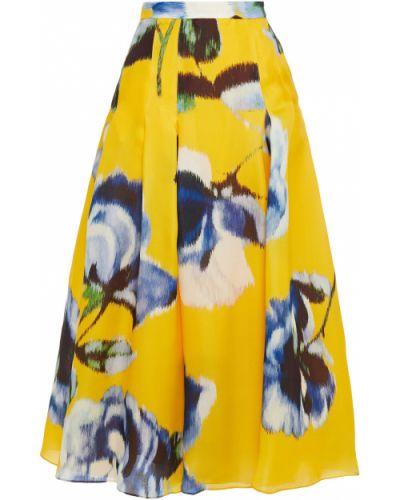 Żółta spódnica maxi z jedwabiu z printem Carolina Herrera
