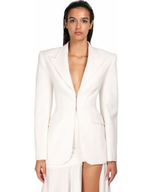 Белый шерстяной пиджак с карманами с лацканами Mugler