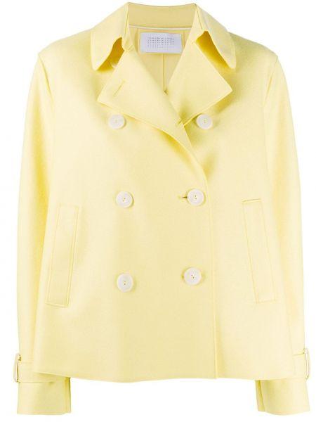 Шерстяная желтая длинная куртка с воротником Harris Wharf London