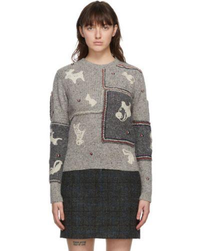 Белый длинный свитер из мохера с нашивками с воротником Thom Browne