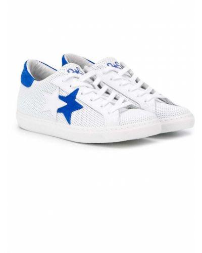 Кожаные белые кроссовки на шнуровке с нашивками 2 Star Kids