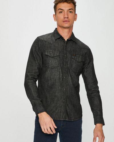 Джинсовая рубашка с длинным рукавом однотонная Lee