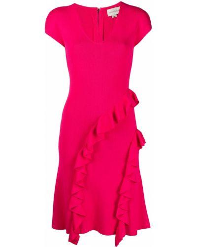 Różowa sukienka z dekoltem w serek z nylonu Sachin & Babi
