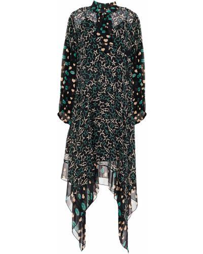 Шелковое черное платье с оборками Anna Sui