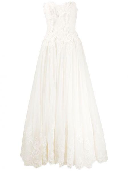 Шелковое кружевное платье макси на молнии Alberta Ferretti