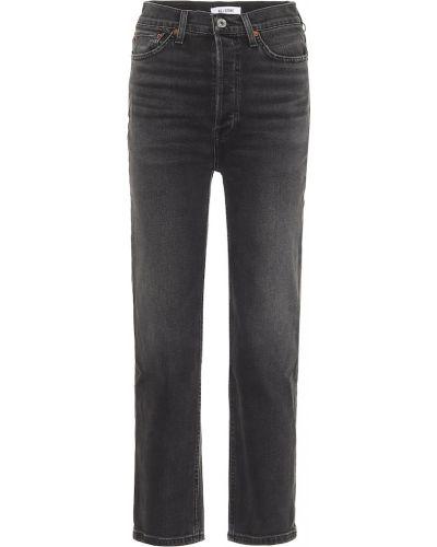 Czarny prosto bawełna bawełna jeansy na wysokości Re/done